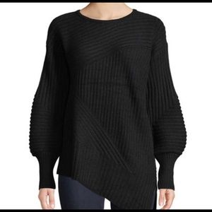 Neiman Marcus Cashmere Black Ribbed Sweater S